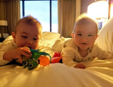 infant twins on vacation
