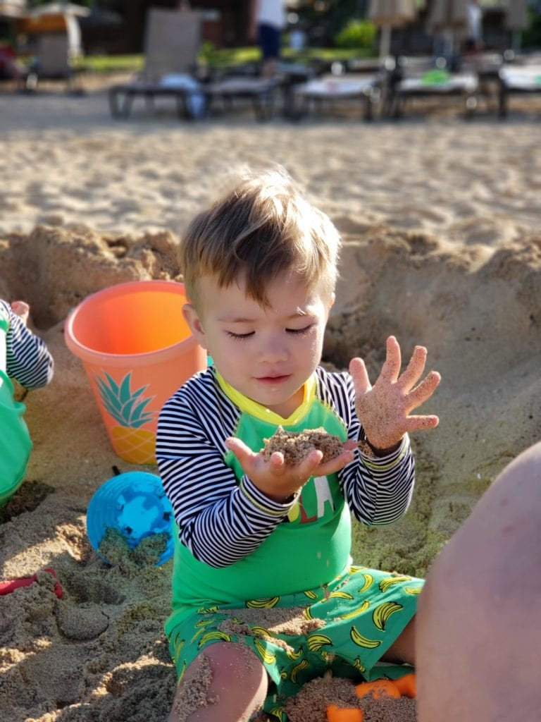 Aulani Beach with toddlers