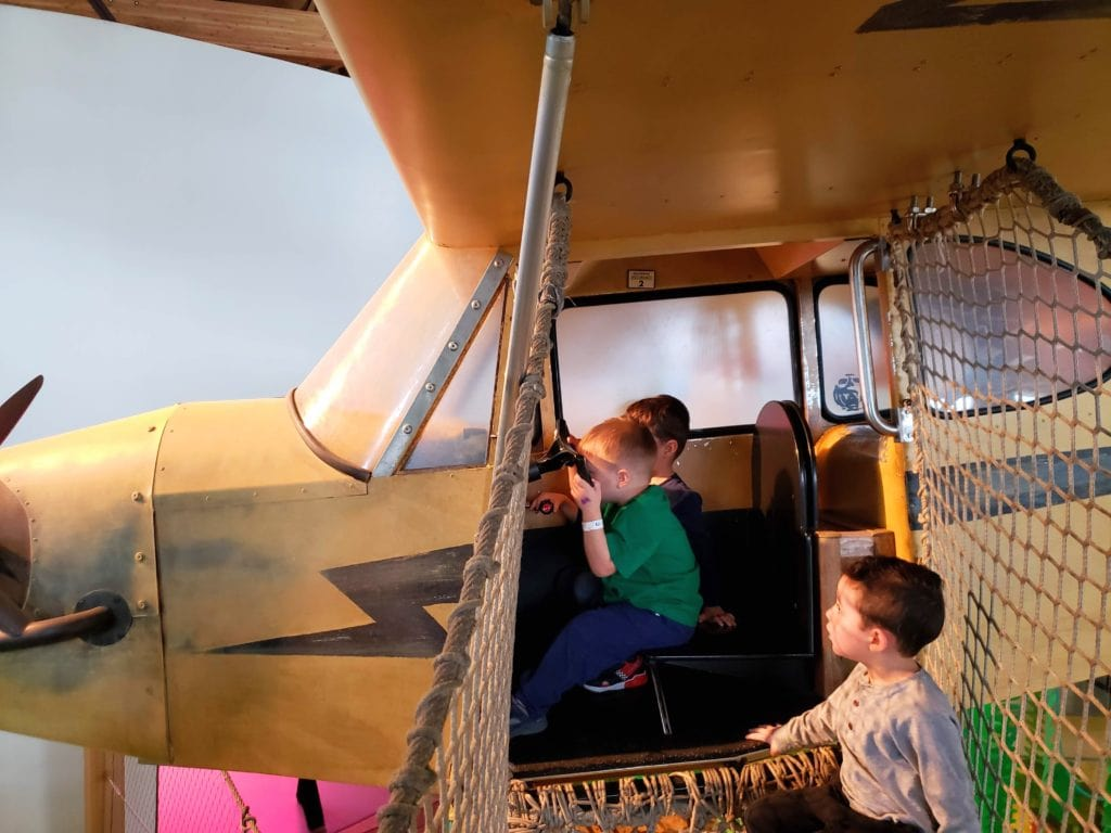 Driving a plane up in the air at The Museum of Natural Curiosity at Thanksgiving Point, Salt Lake City