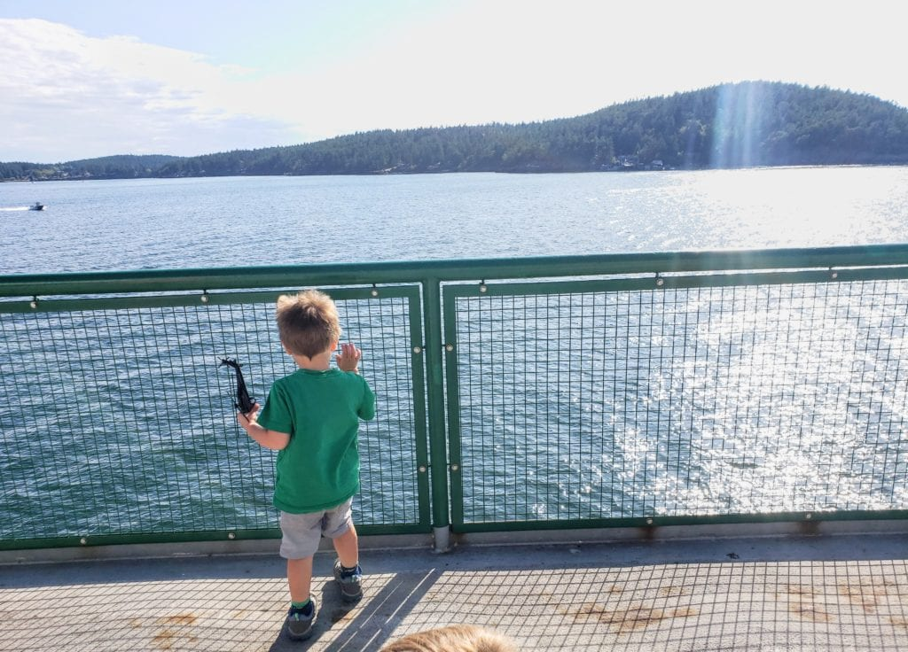 Kiddos enjoying the ride to Friday Harbor