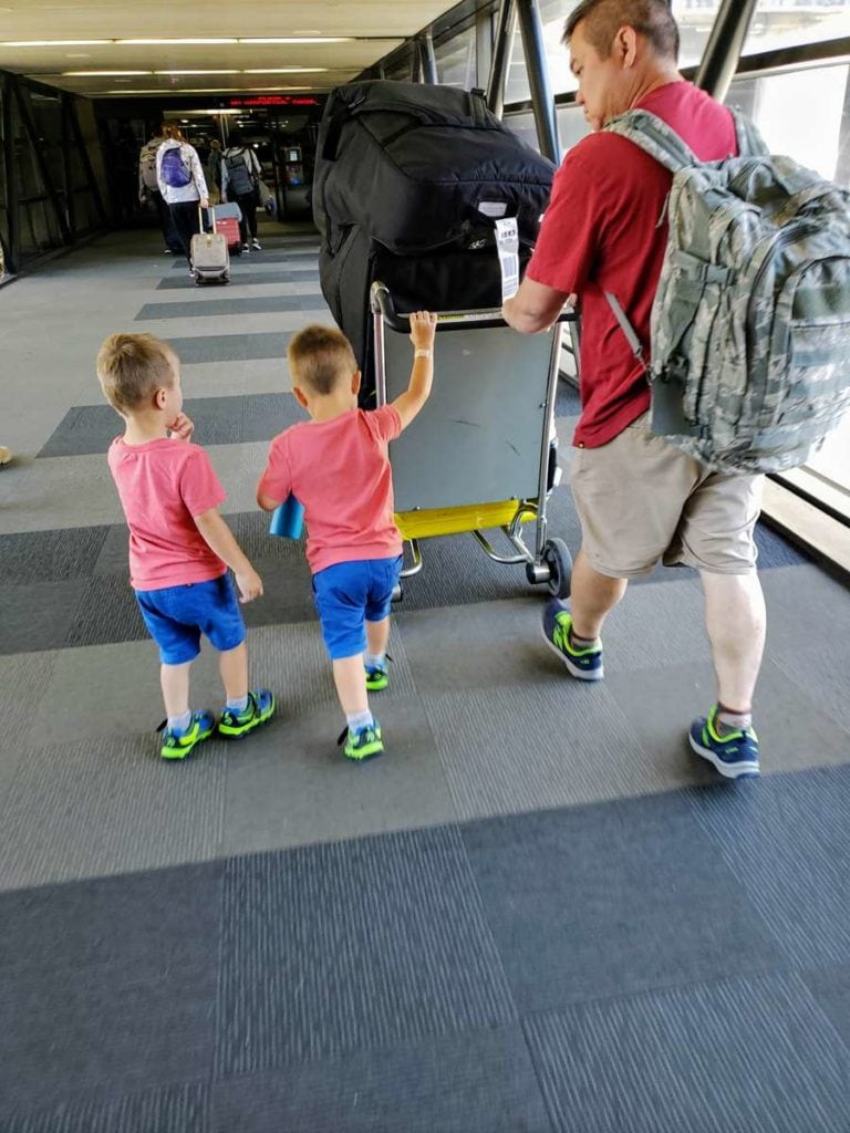 toddlers at the airport