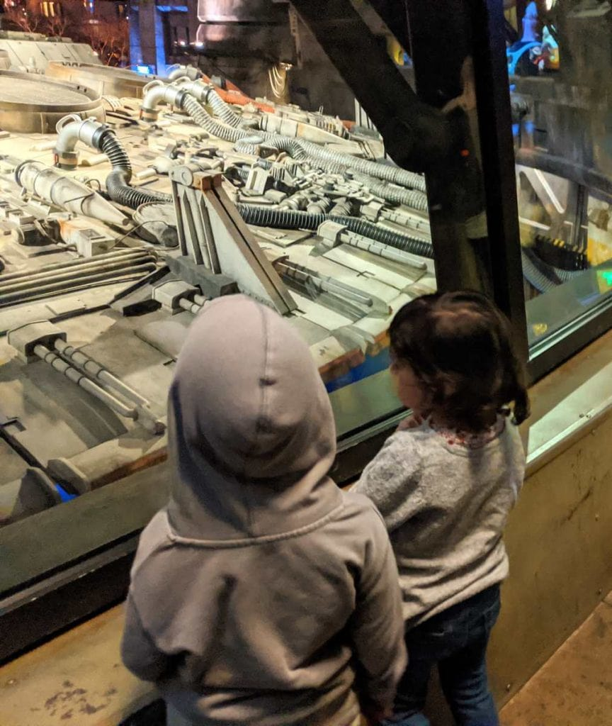 Toddlers at the Millennium Falcon ride